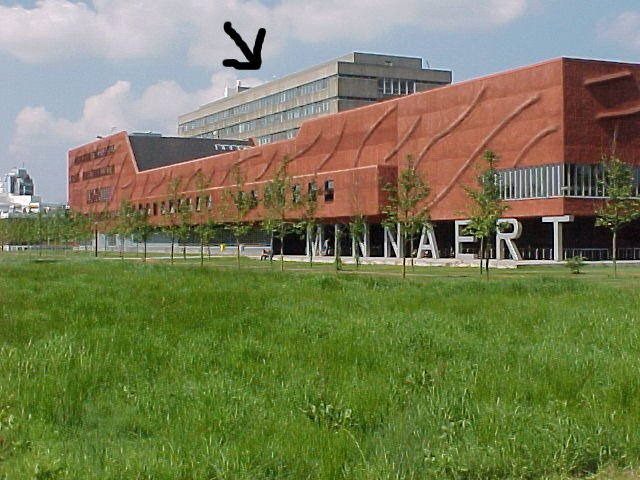 This is the Minnaert building, which is easier to spot. The arrow points to the BBL, immediately behind the Minnaert.