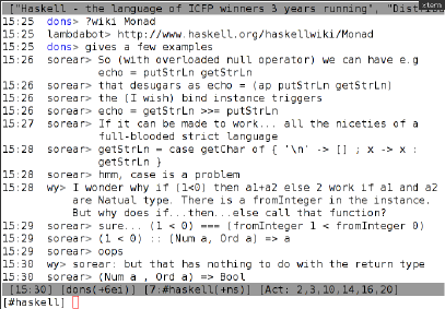 A screenshot of an irssi session in #haskell