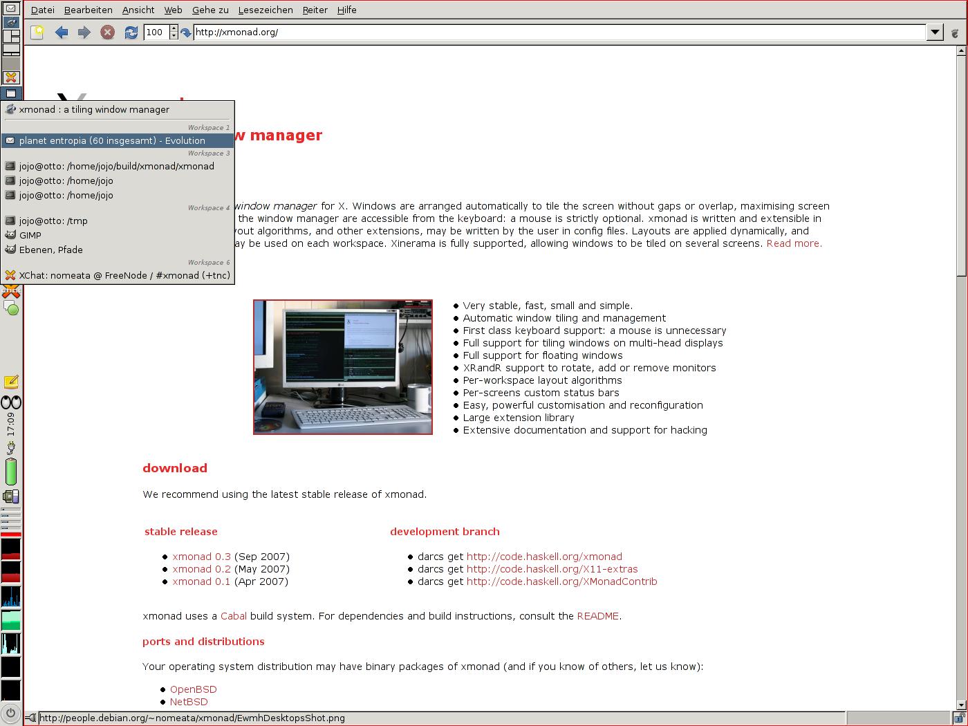 Tampilan desktop xmonad